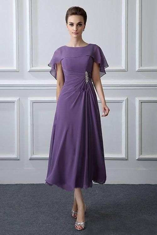 Details about Tea Length Mother Of The Bride Dresses A Line Chiffon Groom Wedding Party Dress