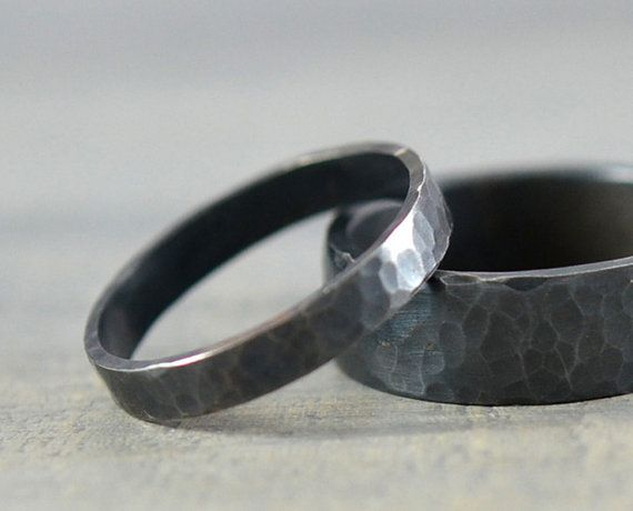 His and Hers Wedding Rings - Black Hammered Sterling Silver Ring Bands - 7mm Men's Wedding Band 3mm Women's Wedding Ring