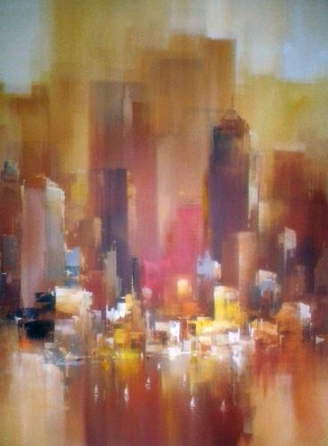 """Original Painting """"New York"""" by Wilfred Lang"""