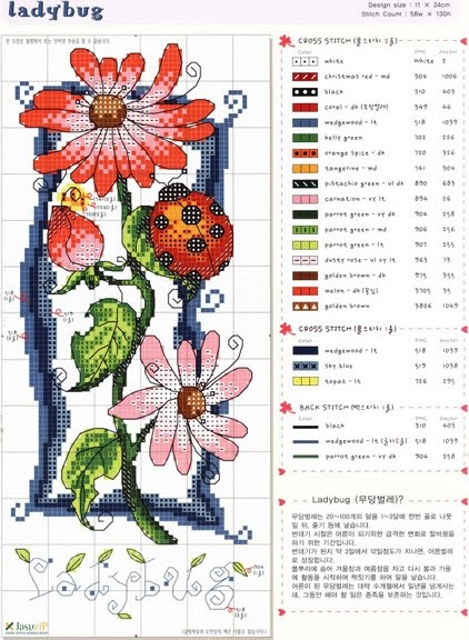 . de X-roses, d'altres flors...  --ladybug cross stitch