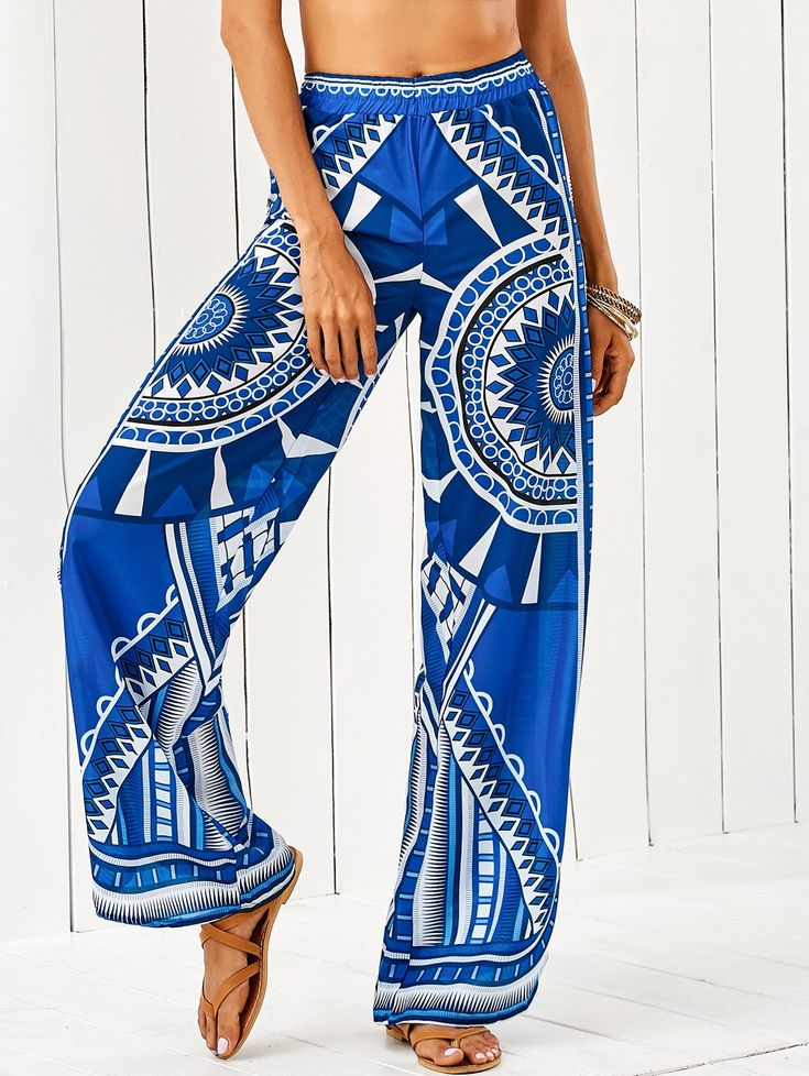African Retro Print Palazzo Pants - BLUE XL
