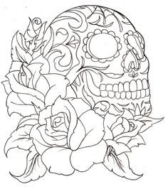 simple sugar skull coloring pages google search - Simple Sugar Skull Coloring Pages