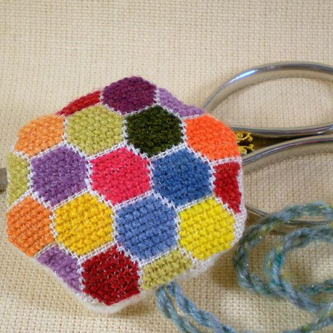 Don't let knitters have all the fun - now you can cross stitch your own hexipuffs!