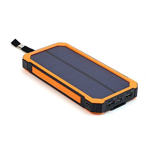 """Portable Solar Phone Charger And Solar Panel Backpacks. We encourage """"unplugging"""" but it's still a good idea to keep your phones fully charged in case you need them. If you need power after the sun goes down, this Solar Charger Power Bank is great because it stores power in its internal battery; that means you can charge it during sunlight hours and the battery stores it until you are ready to use it."""
