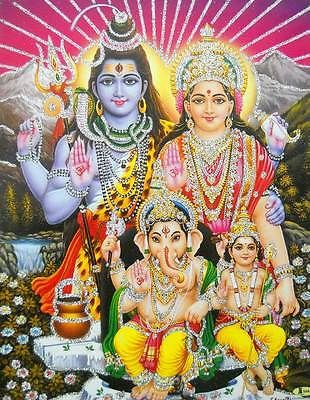 "Lord Shiva Family / Hindu God Poster with Glitter Effect 9"" X 11"" Inches"