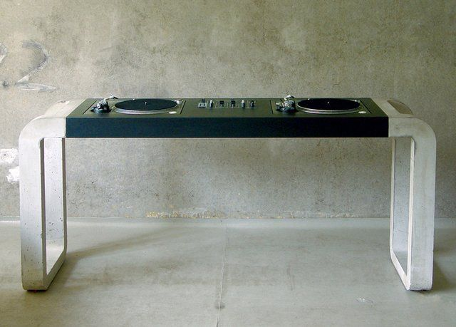 .: Music, At Home, Decks, Dj Tables, Cute Ideas, Concrete Dj, House, Furniture, Dj Desks