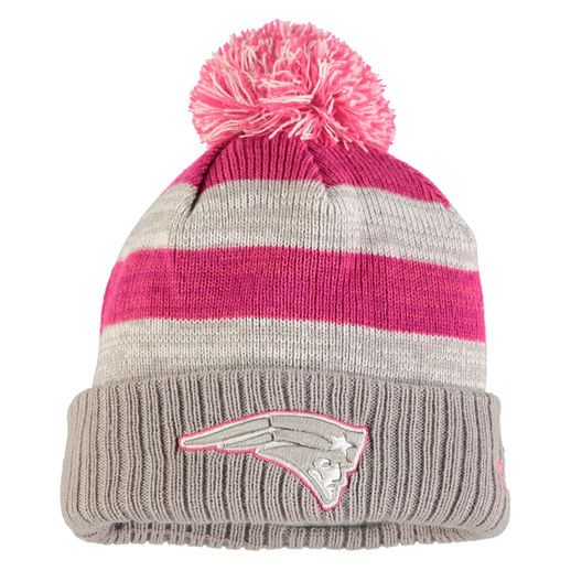 9c7e7c0530150 ... knit hat navy d303d low price new era new england patriots womens gray  2016 breast cancer awareness sideline cuffed pom ...
