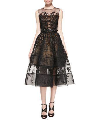 Embroidered Mesh Flare Dress, Black by Oscar de la Renta at Bergdorf Goodman.