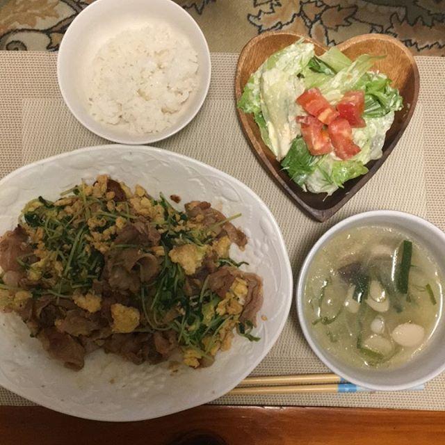 #お家ごはん #シーザーサラダ #ドレッシング #手作り #エリンギスープ #鳥出汁 #豆苗 #卵炒め #豚肉 入れた #野菜 #肉 #キノコ🍄  昨日飲み会で作れなかったから今日はちゃんと🍴 野菜たっぷりやねん!💤