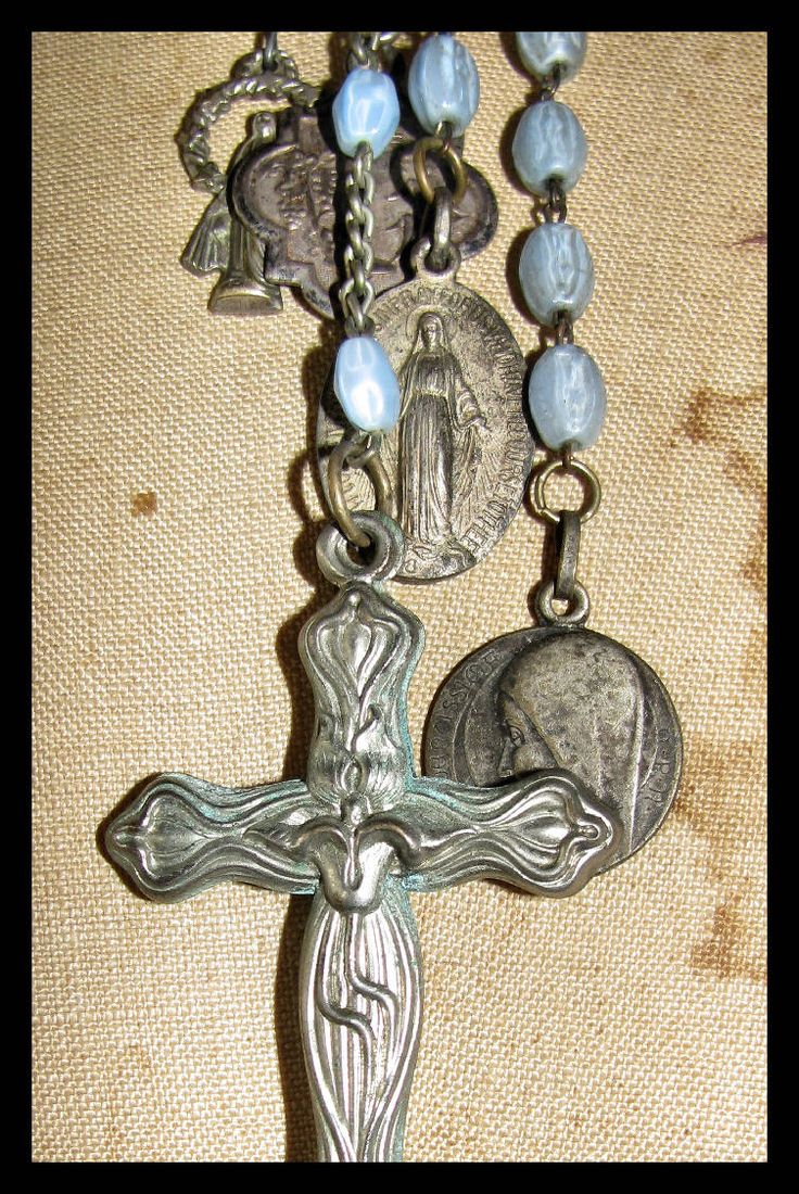 MultiStrand Vintage Blue Glass Rosary Necklace by thesacredmaiden