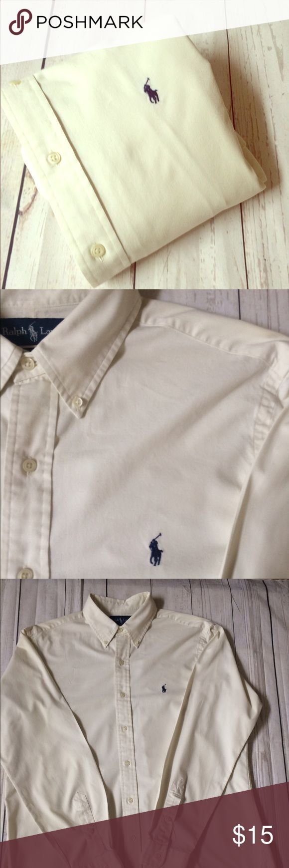 """🐰EASTER SALE🐰POLO•Ralph•Lauren•L•Shirt• 🐣EASTER SALE🐣 Men's Polo shirts are $15/ea🐣 No offers will be accepted or further reductions will be taken🐣 men's  long sleeve button front 100% cotton oxford shirt•L Classic Fit per tag•Signature pony at chest•spot on back of sleeve, as pictured• off-white color• Chest: 26"""" Length: 32"""" Sleeve: 35"""" Shoulder: 19.5"""" Polo by Ralph Lauren Shirts Casual Button Down Shirts"""