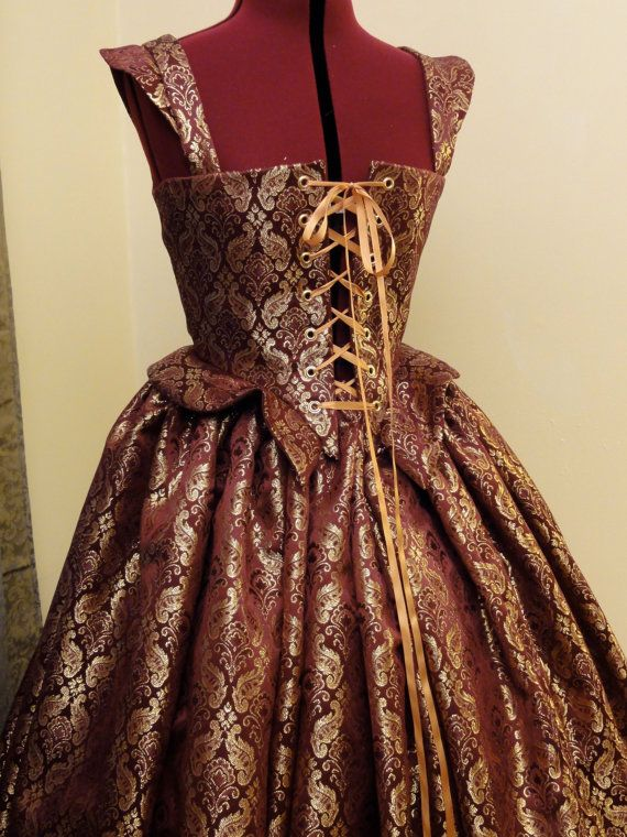 Burgundy and Gold Renaissance Elizabethan by CourtlyClothier, $90.00