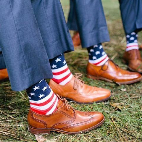 American Flag Dress Socks   Patriotic Groomsmen Socks   Military Wedding Socks