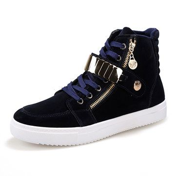 Men Outdoor Shoes High Top Flat Lace Up Suede Casual Sneakers