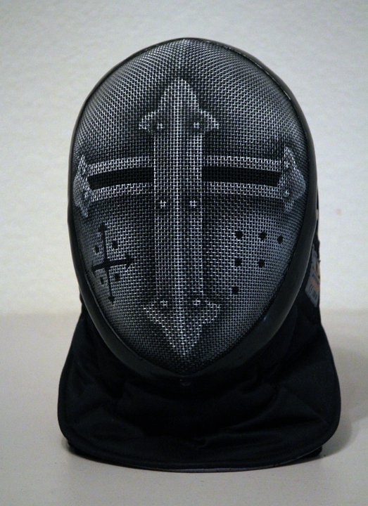 painted fencing mask.