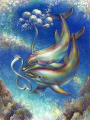 Dolphin Art - Infinity- Bottlenose Dolphins at Play by Nancy Tilles