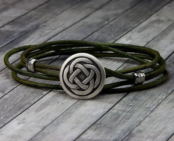 Celtic Knot Leather Bracelet - Handmade Leather Wrap Bracelet - Unisex - Mens…