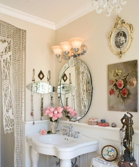 LOVE this shabby chic bathroom