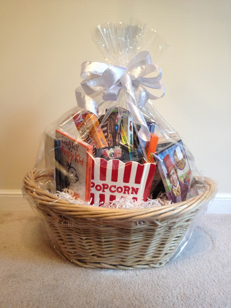 Family movie night basket for raffle | Diy gift baskets ...