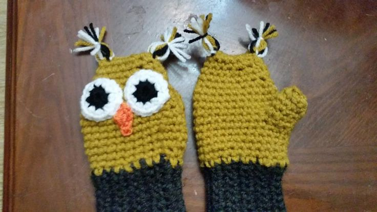 crochet tuddler owl gloves