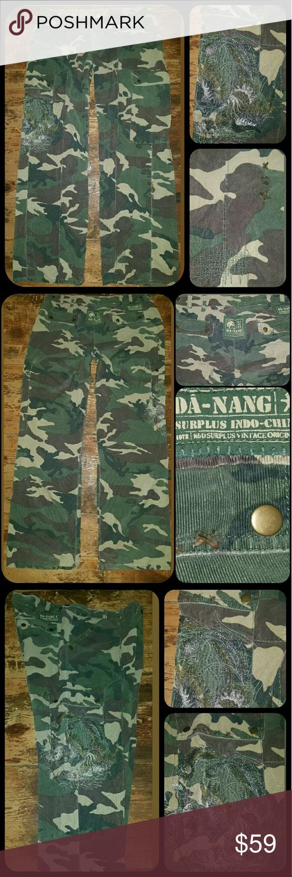 Danang Camo Cargo Embroidered Rumpled Pants very shabby chic AF!! Has an extended loved in worn in look. Like a true Vtg from the 50s pant would be like! If shabby rumpled clothing is not ur proverbial cup a Joe then this is not 4u! H.the entire DANANG collection really won't be as they source either real Vtg surplus or treat fabric to imitate as such. Super soft corduroy, stitching/repair detail ,abrasions, TAG IS busted up ,lol it is usually quite a bit so when purchased but even more so…
