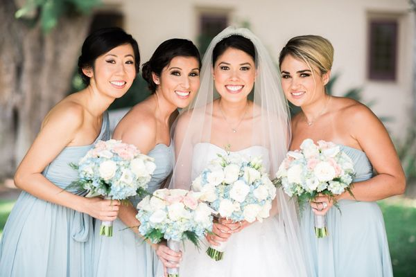 Classic light blue bridesmaid dresses for a Disney themed wedding | Elegant Disney Wedding at Four Seasons Hotel Silicon Valley | Annie Hall Photography | See more on My Hotel Wedding: https://www.myhotelwedding.com/blog/2016/04/11/elegant-disney-wedding-at-four-seasons-hotel-silicon-valley/
