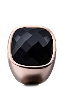 Donne-anello acciaio vetro Simona Tamaris Nero, acciaio inossidabile, 52 (16.6), colore: IP roségold /Schwarz, cod. A03712052