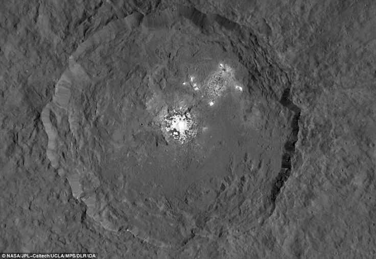 This image, made using images taken by NASA's Dawn spacecraft, shows Occator crater on Cer...
