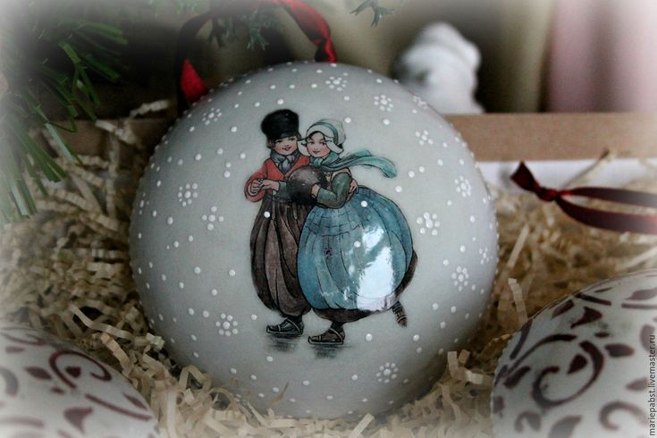 """Купить Набор елочных игрушек """"Катание на коньках"""" - голубой, Новый Год, новогодний подарок"""