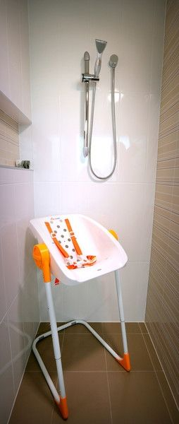 CharliChair safely holds children of up to 37 pounds in the shower for comfy bathing.