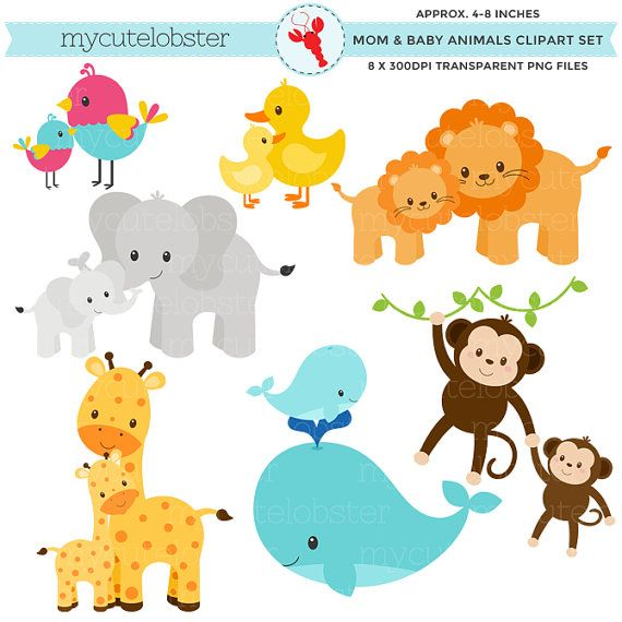 Mom And Baby Animals Clipart Set Clip Art Set Of Animals Etsy Animal Clipart Free Animal Clipart Cute Animal Clipart