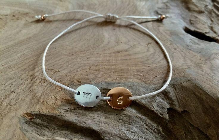 Namensarmbänder - Armband Macramé mit Initialien roségold silber - ein Designerstück von saniLou bei DaWanda