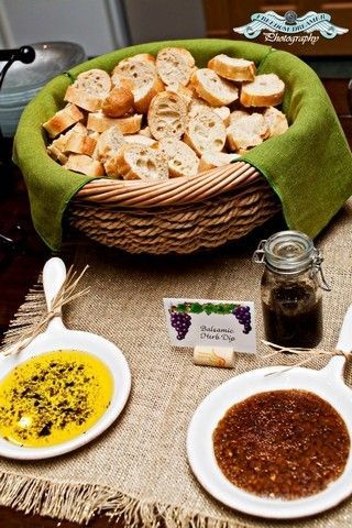 Bread with dipping sauces - flavoured oil, bruschetta, olive tapenade, and balsamic herb dressing. Have an assortment of different breads too.