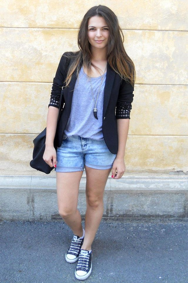 Zara bag, blazer and basic grey tank top, Glow Fashion shorts, and Converse shoes. The necklace is from H