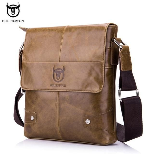 BULL CAPTAIN Genuine Leather Crossbody Bags Men/'s Shoulder Messenger Bag Satchel