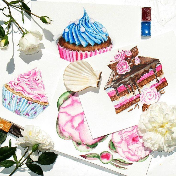 Акварельные вкусняшечки для фирменного стиля ;-) , как оказалось, их рисовать так же сладко, как и есть :-) ----------------------- ------------------------- #art #watercolor #painting  #дизайнвизиток #drawing #cake #торт #логотип  #illustration #instaart #aquarelle #watercolorillustration #акварель #cartel_watercolorists  #рисунок  #визитка  #рисуюназаказ #севастополь  #иллюстрация #logo #пироженое #waterblog #кондитер #капкейки #домашняякондитерская #ручнаяработа #шоколад #дизайн…