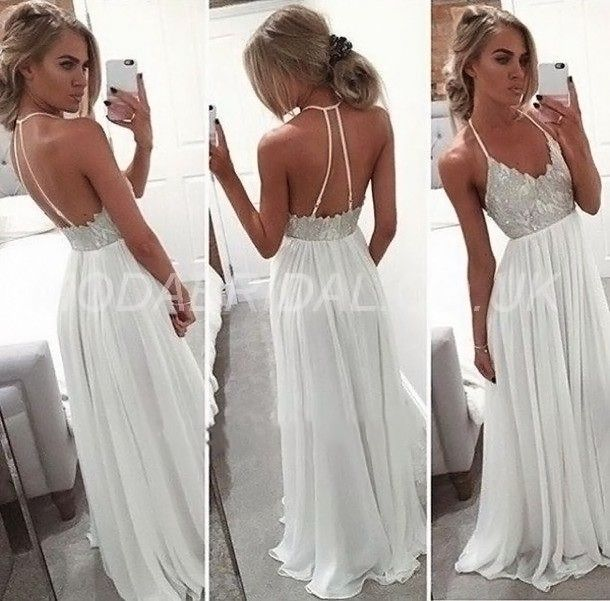 UK Style Floor-Length Beading Draped Evening Prom Summer Backless Natural Dress