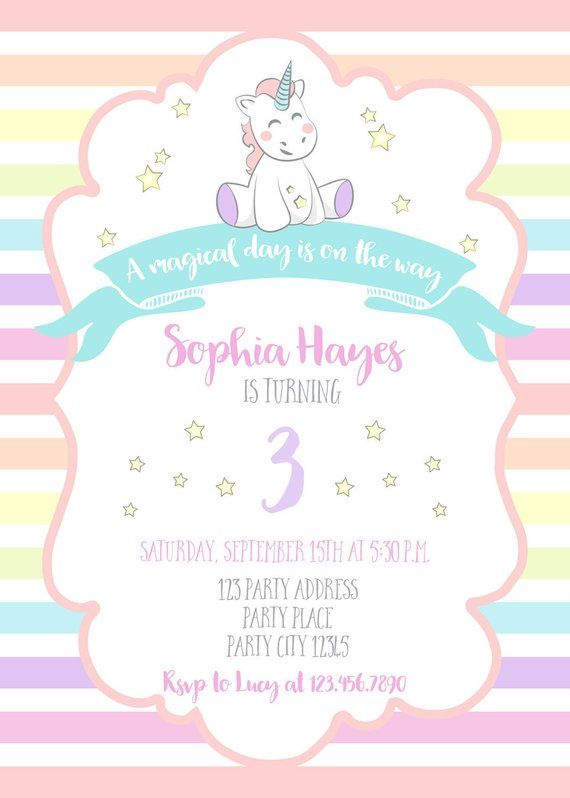 Birthday Invitations For Girls Unicorn Party A Magical Day Is On The Way Rainbow Invi