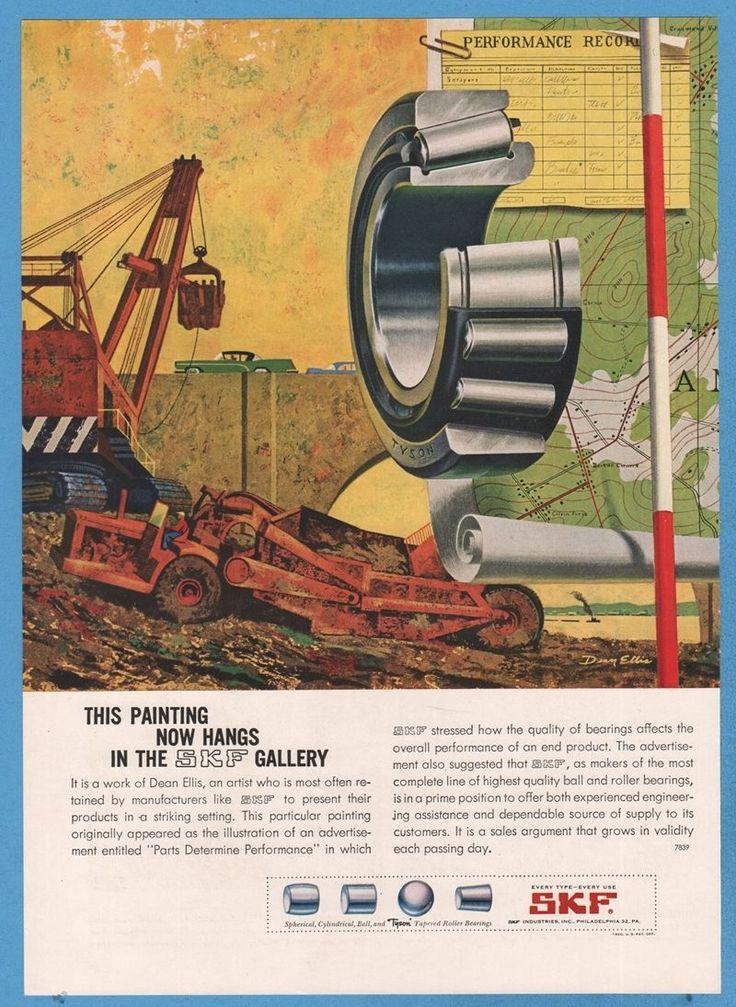 1959 SKF Bearings Construction Work Site Dean Ellis ART AD   eBay