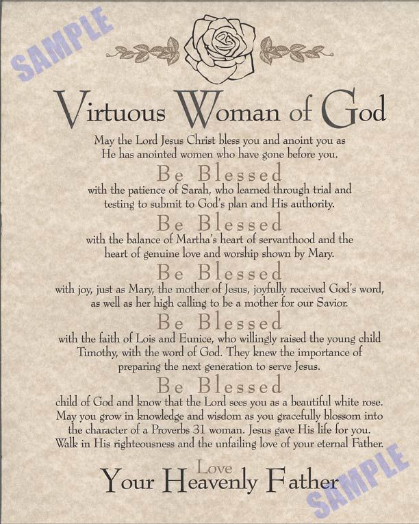 A Virtuous Woman | Proverbs 31 Virtuous Woman Poem ...