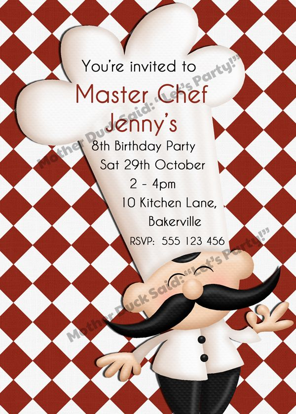 8 best Master Chef Party Ideas images – Kids Cooking Party Invitations