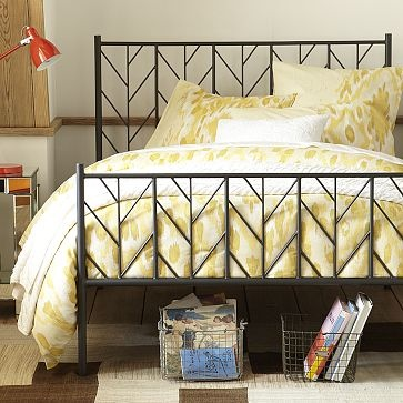 love the colors and this bed frame and the use of wire baskets.  i pretty much love it all!