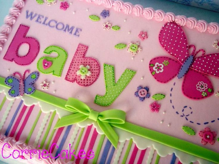 Baby Shower Butterfly Sheet Iced In BC With MMF Decorations   Designed To  Match Invitations