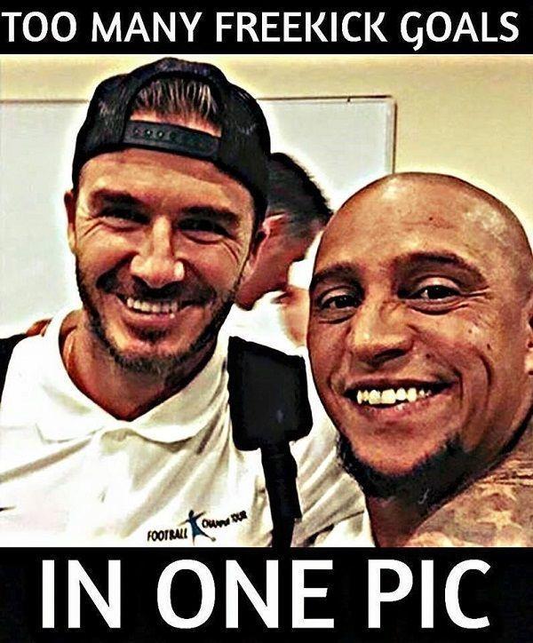 Za dużo goli z rzutów wolnych na jednym zdjęciu • David Beckham i Roberto Carlos czyli mistrzowie rzutów wolnych • Wejdź i zobacz >> #carlos #beckham #football #soccer #sports #pilkanozna