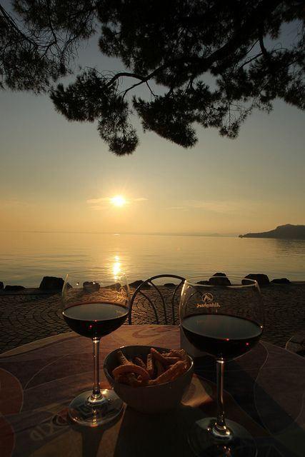 Sunset on Garda Lake & Wine by Bruno Cordioli
