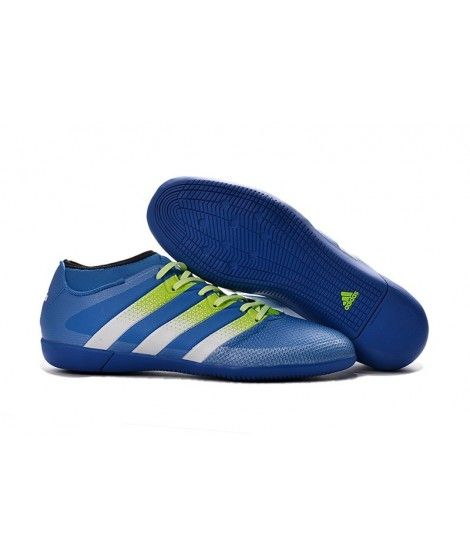 Adidas ACE 16.3 Primemesh Indoor Blå Hvit Grønn Menn Fotballsko