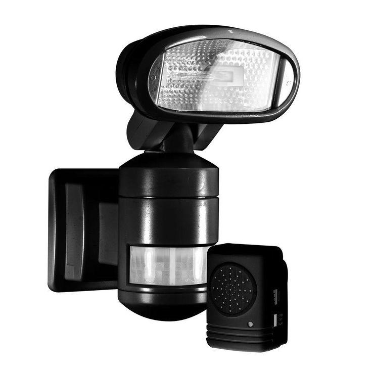 NightWatcher Security 220-Degree Outdoor Black Motorized Motion-Tracking Halogen Security Light with Wireless Indoor Audio Alarm