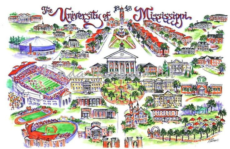 University+of+Mississippi+Ole+Miss+Illustrated+Art+by+whatsyour20,+$39.50