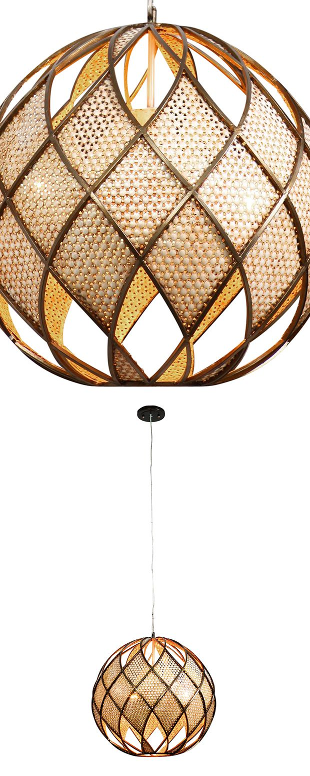 Reach back to the mid-century for a hint as to how the Orion Ball Pendant Light came about. Updated with a touch of contemporary verve, this alluring globe pendant features a mix of cool textures, mate... Find the Orion Ball Pendant Light, as seen in the Rustic Bohemian Home Collection at http://dotandbo.com/collections/rustic-bohemian-home?utm_source=pinterest&utm_medium=organic&db_sku=121325