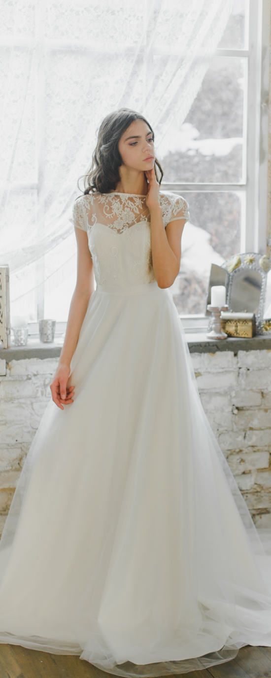 Romantic sheer neckline wedding dress with layered airy skirt ...